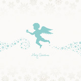 Flying Angel Holding Star Beige/Turquoise Snowflakes