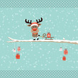Rudolph On Tree Pulling Sleigh With Gift Retro Dots