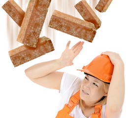Bauarbeiterin in Gefahr