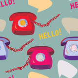 Retro phone seamless funny pattern design