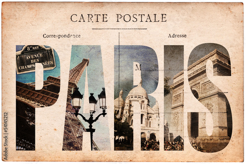 Carte postale ancienne, collage monuments Paris