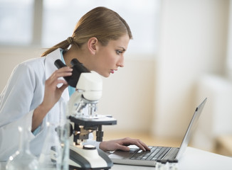 Female Scientist Using Laptop At Desk In Laboratory