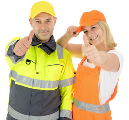 Arbeiter in Warnschutzkleidung