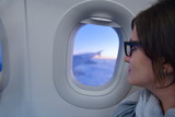 woman in airplane travel