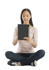 Woman Using Digital Tablet Against White Background