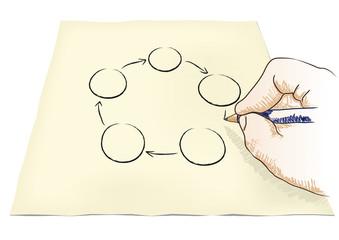 mano che disegna un diagramma