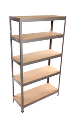 Metal industrial storage shelves.