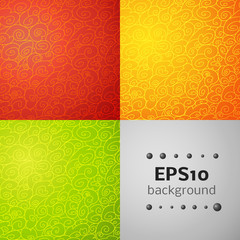 Set of wave seamless ornamental background in three colorful