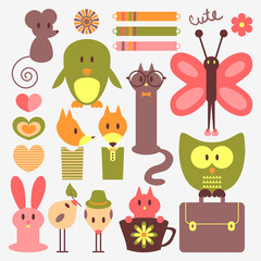 Funny animals and cute scrapbook elements set