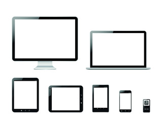 Set computer products vector