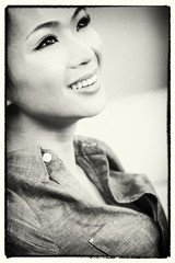 Black & White Chinese Asian Woman Smiling