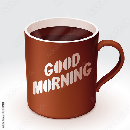 Cup of coffee with 'Good Morning' text.