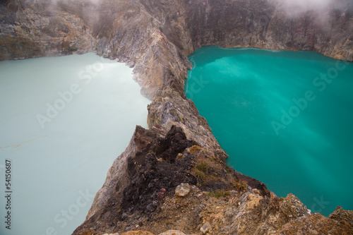 Kelimutu lakes changed colour - white and blue