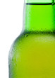 Close-up of a green beer bottle with condensation on white backg