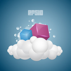background with cubes on cloud
