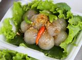 Kanom sago; Thai dessert ; powdery starch from certain sago palm poster