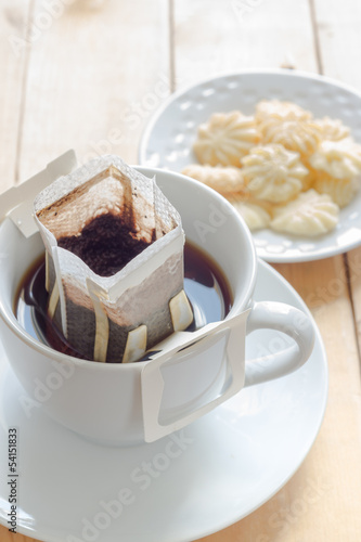 Hot coffee with butter cookies