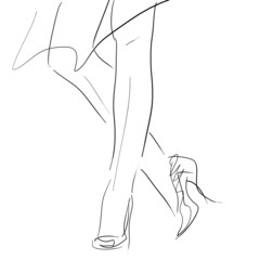 Concept women in high heels, fashion hand drawing sketch
