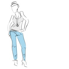 Concept women in t-shirt and jeans, fashion sketch