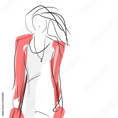 Concept women, fashion hand drawing sketch