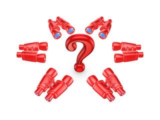 Binoculars around symbol of query mark.