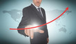 Businessman selecting a red arrow pointing up
