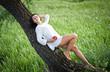beautiful girl near the tree