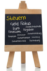 Tax written german in yellow with a chalk
