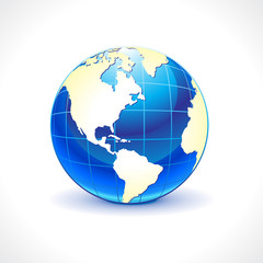 abstract glossy blue globe icon