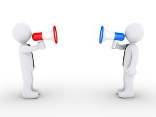 Opposing businessmen with megaphones