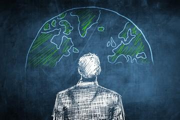 Sketch global businessman concept, earth globe