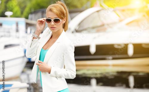 Beautiful sexy brunette woman summer portrait