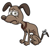 Vector illustration of sick cartoon dog