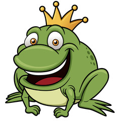 vector illustration of Cartoon frog prince