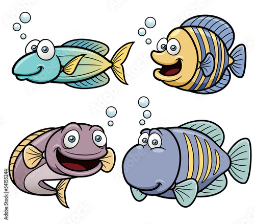 Vector illustration of Sea fish set