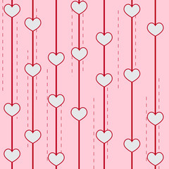Creative pink background with hearts