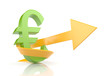 Euro sign with arrow. Symbolize growth