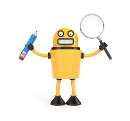 Robot with pen and magnify glass