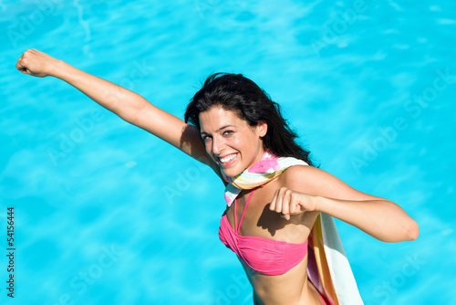 Poster Funny super girl on summer vacation