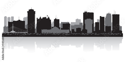 Winnipeg Canada city skyline vector silhouette