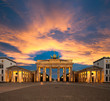 canvas print picture - Brandenburg Gate at sunset