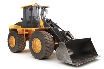 Bulldozer loader excavator construction machinery on white
