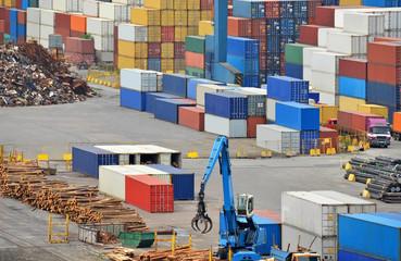 Cargo container and lumber in port Odessa, ukaine
