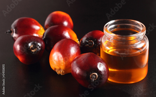 Oil palm fruits and oil bottle on a leaves background