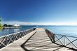 wooden pier in caribbean sea
