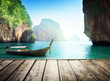 Adaman sea and wooden boat in Thailand