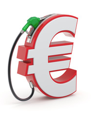 Euro sign with gas nozzle