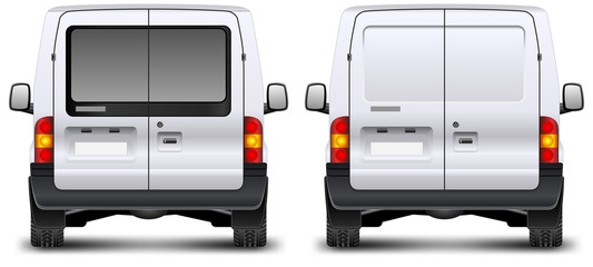 Minivan car rear view on white, vector illustration