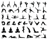 Silhouettes of yoga and gymnastics-vector