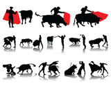 Vector collection of matador and bull-silhouettes and shadows